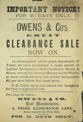 Advert for Owens & Co, boot manufacturer
